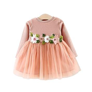 a61b3a35de328 ワンピース 子供 ベビー 長袖 女の子 花柄 可愛い ベビードレス ガールズ ふわふわ チュール切り替え キッズドレス