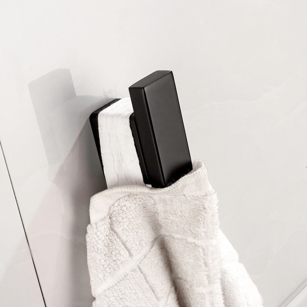 BigBig Home Square Coat Hook Single Towel Robe for Bath Kitchen Garage Contemporary Hotel Style Wall Mounted, Matte Black Stainless Steel Clothes Hook.