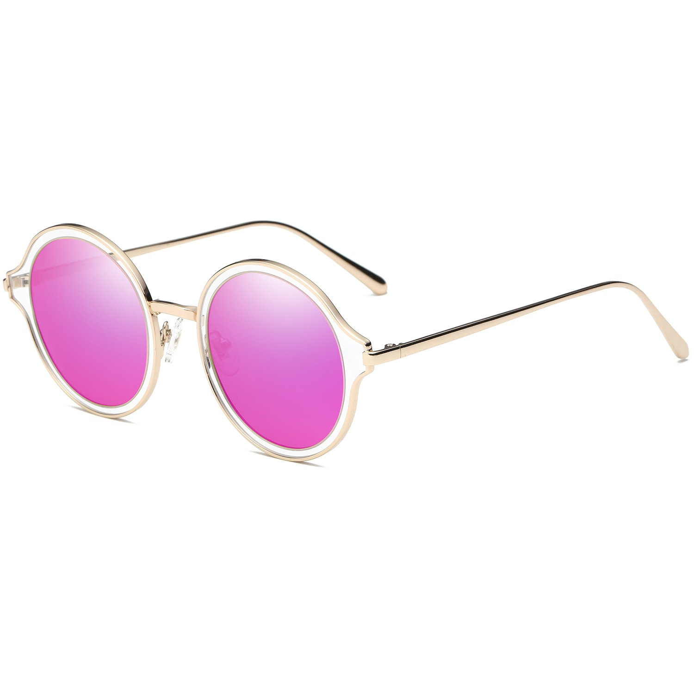 SOJOS Rotondi Occhiali da Sole Polarizzati Grandi Uomo Donna Vogue Classico Montatura in Metallo SJ1058