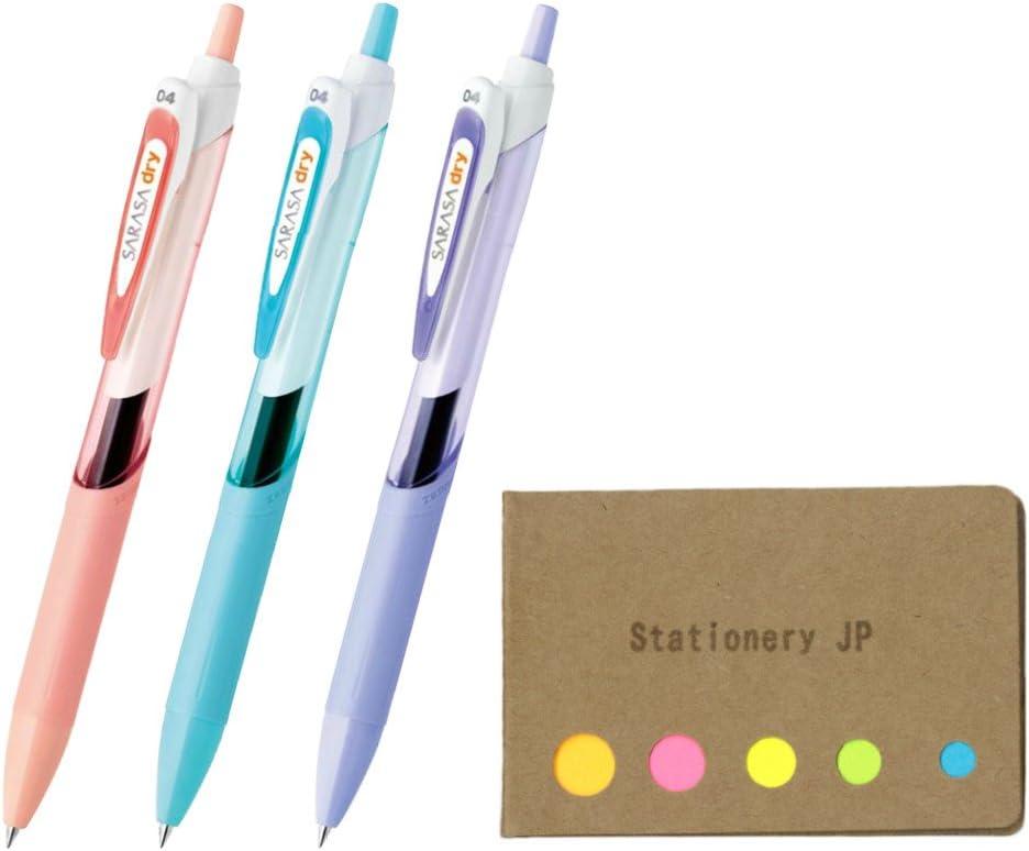 Zebra Sarasa Dry 0.4 Retractable Gel Ink Pen for left-handed, Rubber Grip, 0.4 mm, 3 Body Color Black Ink, Sticky Notes Value Set