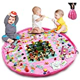 2in1 Toy Storage Bag & Floor Play Mat, Large Portable Tidy Organiser Sack 150cm (59') with Drawstring, Foldable Clean up Rug for Home Outdoor (Pink)
