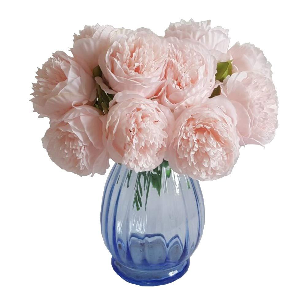Eternal Blossom シルク製牡丹ブーケ 5つの人工ブーケ ブライダルブーケ ウェディングパーティー 花 ホームガーデンデコレーション B07KM48H82 ライトピンク