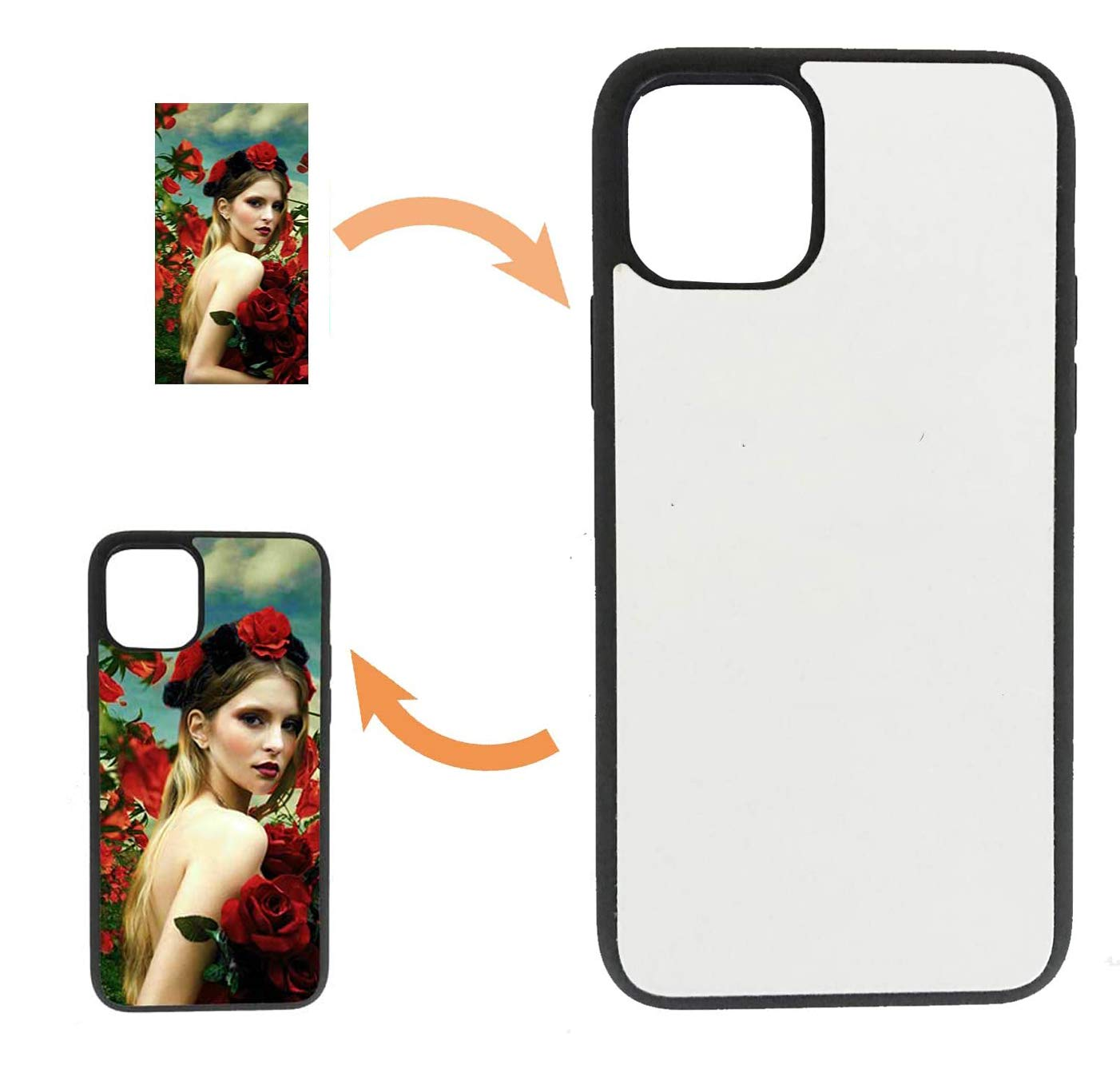 JUSTRY 10PCS Sublimation Blanks Phone Case Cases Covers Compatible with Apple iPhone 11, 6.1-Inch (2019) Blank Printable Phone Case for DIY Soft Rubber Smooth Edges Protective Shockproof Slim Case DIY