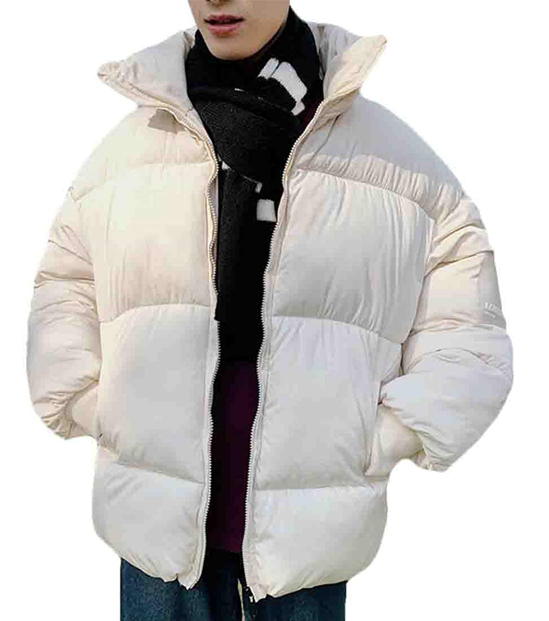 Wilngo Men Winter Full-Zip Thicken Quilted Padded Coat Warm Baggy Down Jacket Outwear