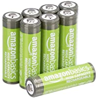 Amazon Basics NiMH AA-Batterijen - Oplaadbare Batterijen,2500 Mah, 8 Stuks