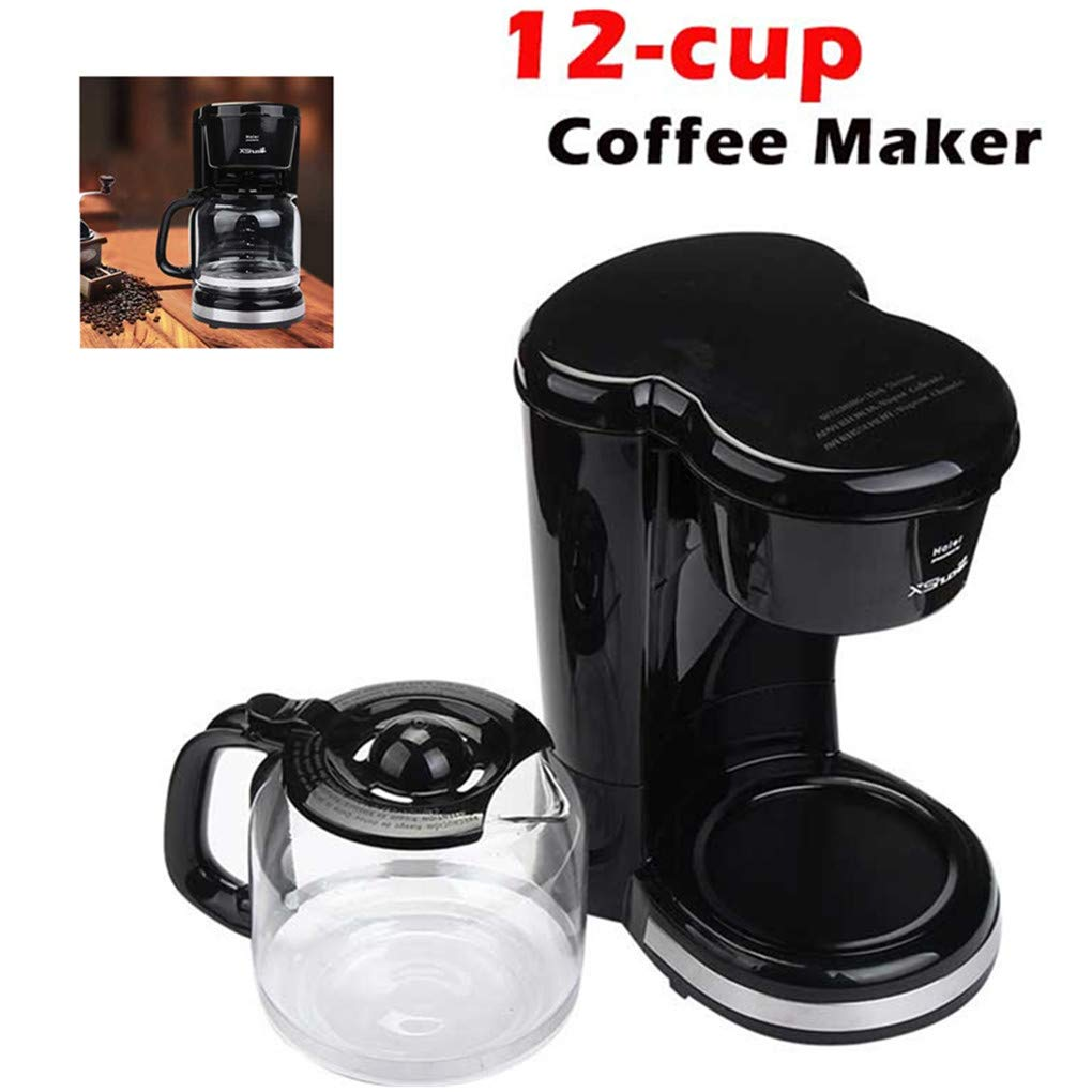 ABCOnline 12-Cup Home Coffee Maker, Coffee Machines with Permanent Filter Basket and Carafe, Keep Warm Function, Easy Cleaning (12-Cup, Black)
