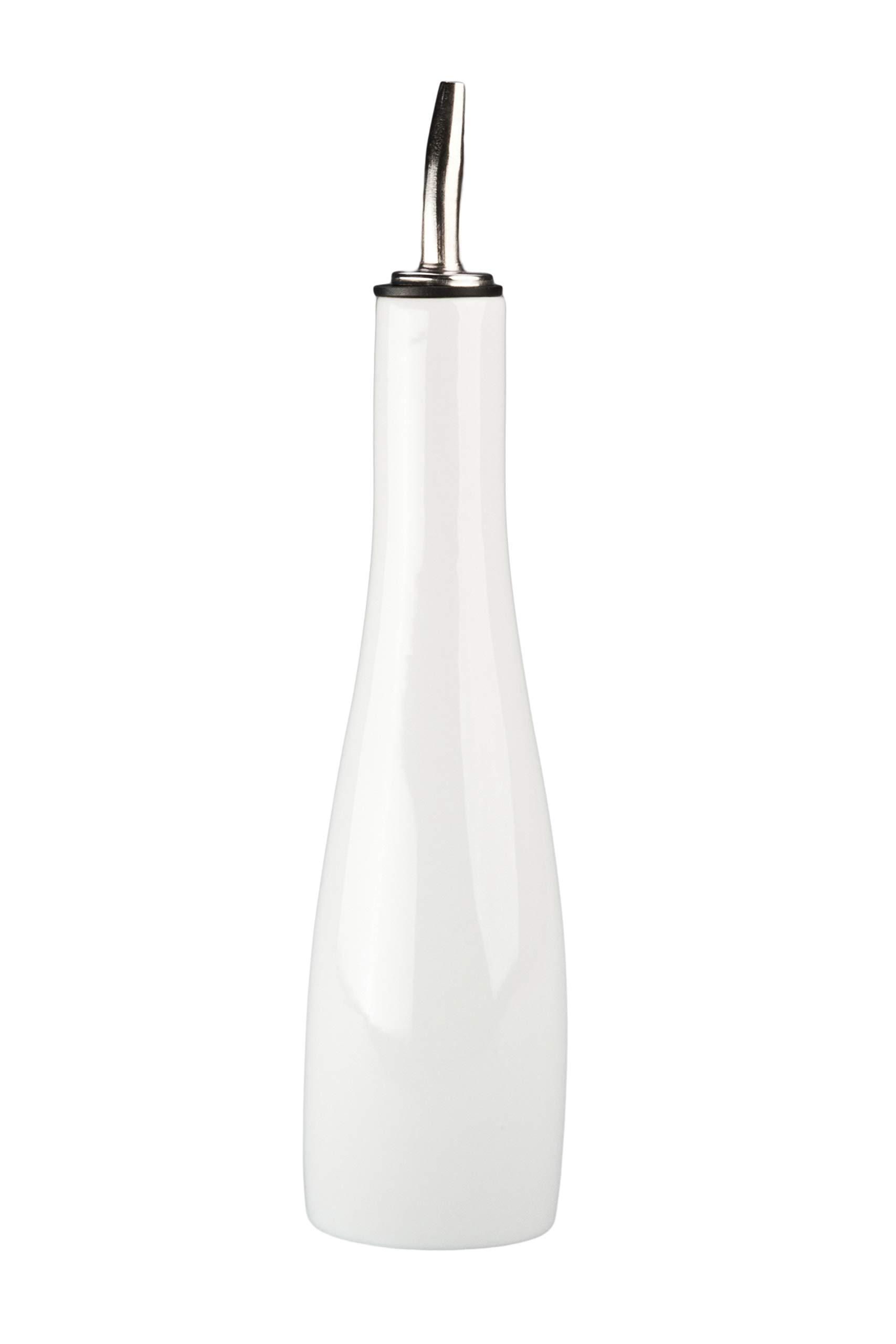 White Porcelain Oil Bottle / Vinegar Cruet, Dispenser (10-Ounce)