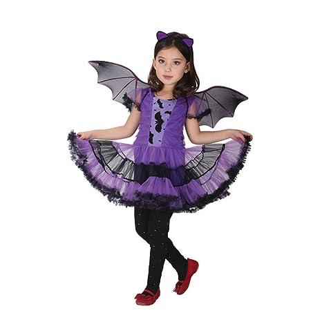 7004ead0abb8 Tongchou Costume Pipistrello Bambina Vestito Bambina Halloween Carnevale M