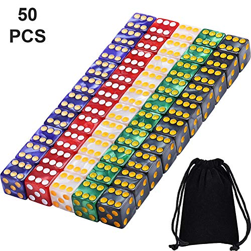 Blulu 6-Sided Games Dice Set, Colored Dice with Black Velvet Pouches for Playing Games, Like Board Games, Dice Games, Math Games, Party Favors and More (16 mm, 50 Pieces Multicolored E)