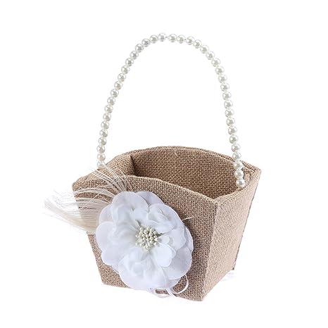 Amazon.com: ultnice boda flor niña cesta con White Pearl ...
