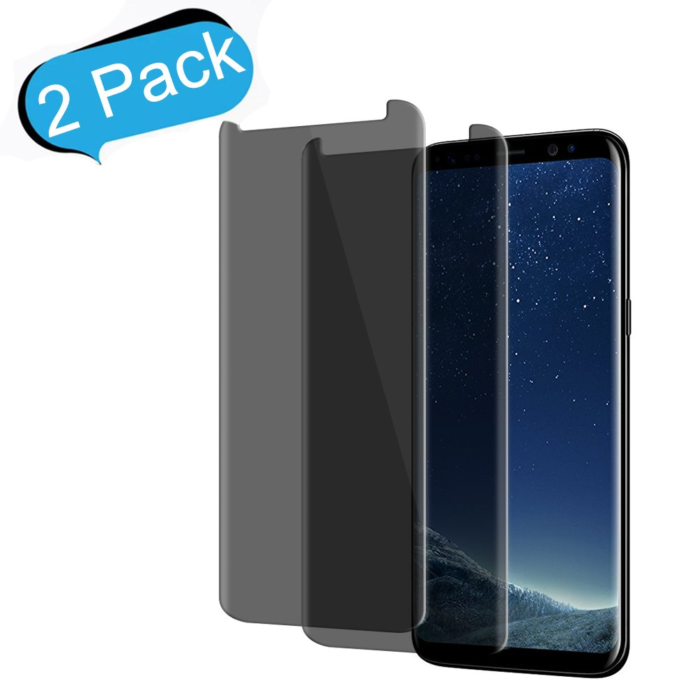 Samsung Galaxy S8 Plus Anti - Spy Tempered Glass Screen Protector ,Live2Pedal[9H Hardness][3D Curved][No Bubble][Anti-Scratch]Privacy Glass Screen Protector For Samsung Galaxy S8 Plus (2-Pack)