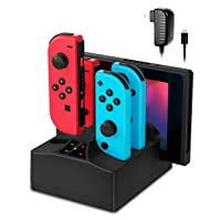 Charging Dock for Switch Joy-Con,5 in 1 Charger Stand Station for Nintendo Switch Joy-Con Controllers and Console with AC Adapter and Individual LED Indicator