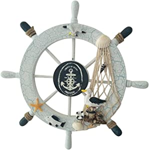 WINOMO Wheel Wall Decor Wooden Ship Steering Wheel Nautical Boat Wall Decor Fishing Net Shell Home Decor (Seabird)