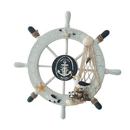 KAIMENG Decoración de la pared del hogar Timón Rueda Barco Volante barco de Madera Mediterráneo(