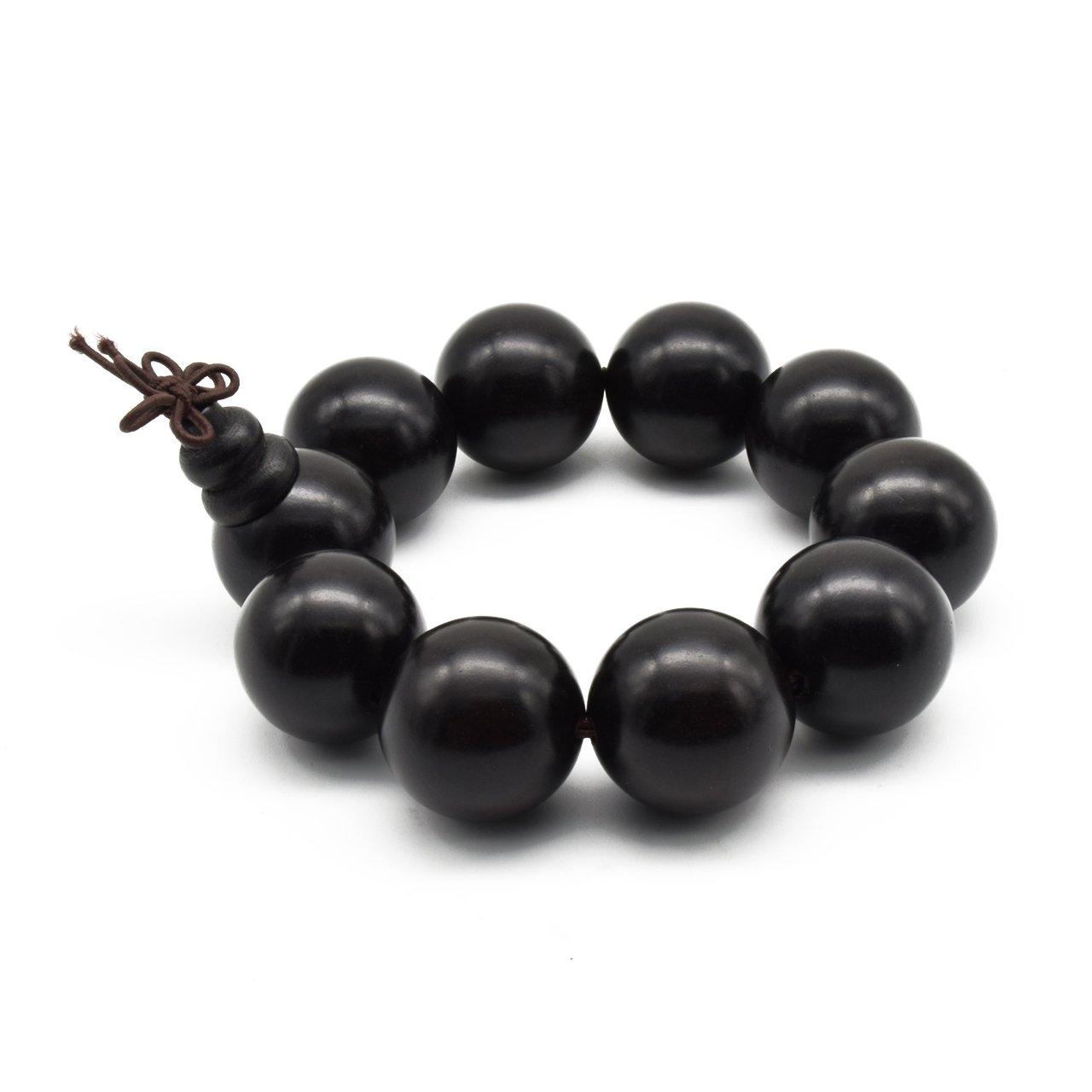 Zen Dear Unisex Natural Ebony Wood Buddhist Prayer Bead Necklace Bracelet Tibetan Prayer Mala Beaded Black (25mm 10beads)