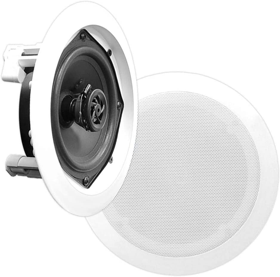 "5.25"" Ceiling Wall Mount Speakers-Pair of 2-Way Midbass Woofer Speaker 1'' Polymer Dome Tweeter Flush Design w/ 80Hz-20kHz Frequency Response & 150 Watts Peak Easy Installation-Pyle PDIC51RD"