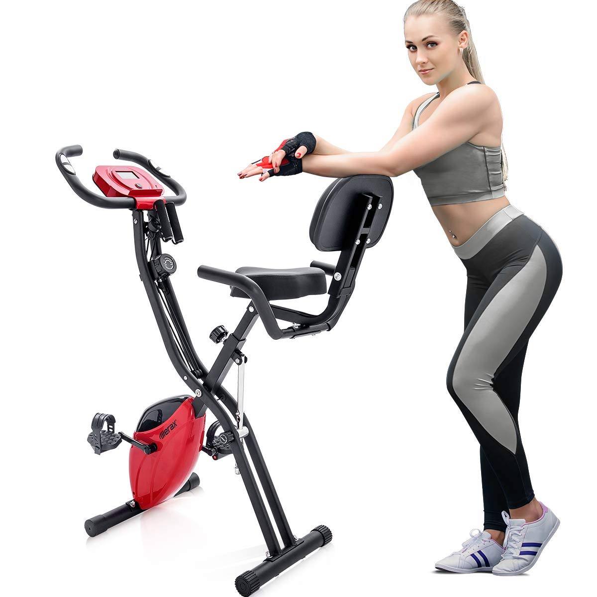 Merax Folding 3 in 1 Adjustable Exercise Bike Convertible Magnetic Upright Recumbent Bike with Arm Bands (Black+Red)