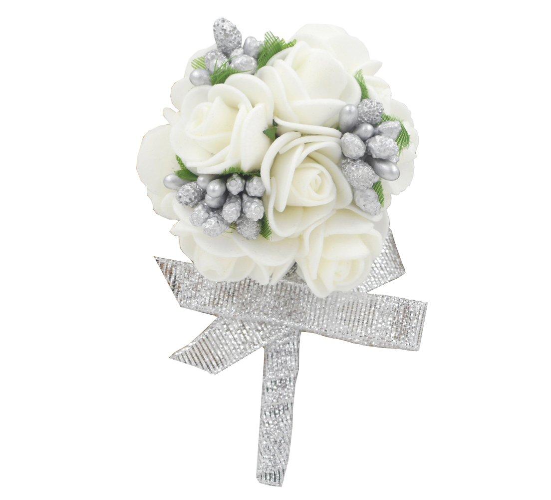 Amazon Wedding Boutonniere White Foam Rose For Men Flower