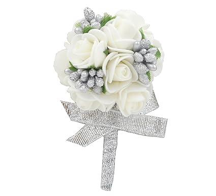 Amazon wedding boutonniere white foam rose for men flower wedding boutonniere white foam rose for men flower brooch silver ribbon best man groom corsage prom mightylinksfo
