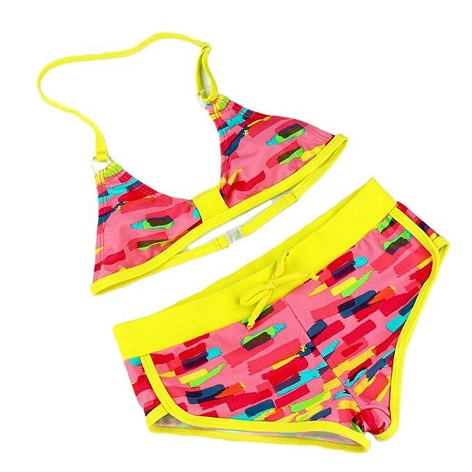 Changhants 8-16 años de Edad niña Conjunto de Bikini 2 Piezas de baño Amarillo o Rosa con patrón de Flores