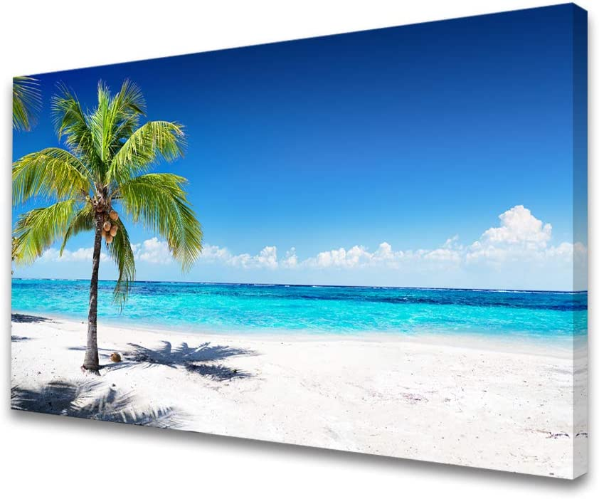 Baisuart-S03969 Large Canvas Wall Art Summer Ocean Waves Prints Coconut Trees on Sands Beach Seascape Painting Sea Nature Pictures Stretched and Framed for Living Room Home Office Wall Decor Artwork