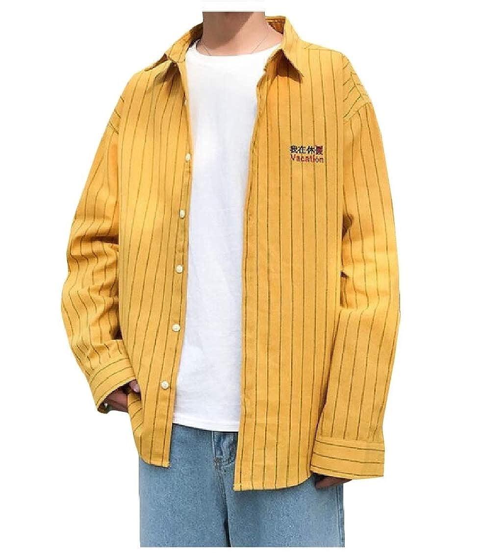 Hajotrawa Mens Long Sleeve Slim Top Button Down Striped Shirts
