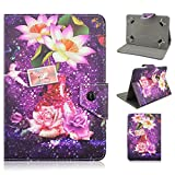 Universal 7 inch Ios & Android Tablet Tab 3 Lite 7.0 Case, Take Ao Flower Series PU Leather Folio Book Flip Case Cover with Folding Stand Function Shell- Purple Skin Rose and Lotus