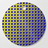 Society6 Wooden Cutting Board, Round, Blue and yellow brushed metal with holes by hereswendy