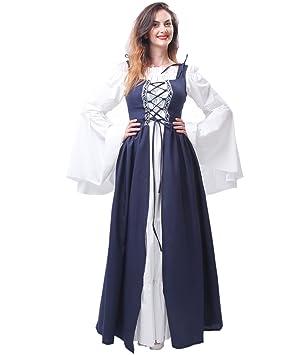 Nuoqi Mujeres Renacimiento Medieval Victoriana Vestido Halloween Partido Disfraces (L, GC204B-NI)