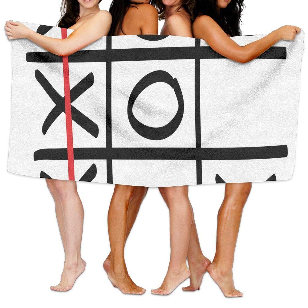 Haixia Plush Bath Towels Xo Popular Tic Tac Toe Game Pattern Hand Drawn Design Win Victory Finish Theme Decorative Black White Vermilion