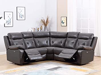 Amazon Com Homeroots 160 X 38 X 40 Modern Dark Gray Leather Sectional With Power Recliners Furniture Decor