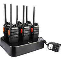 Retevis RT24 Plus Talkies Walkies Rechargeables Radio PMR446 sans Licence 16 Canaux Chargeur à Six Emplacements CTCSS/DCS avec Écouteurs (6 pcs)