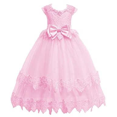 Amazon.com  OwlFay Flower Girl Princess Vintage Lace Gown Kids Formal  Wedding Bridesmaid Pageant Long Dresses Communion Prom Party Dress  Clothing fb283efbf