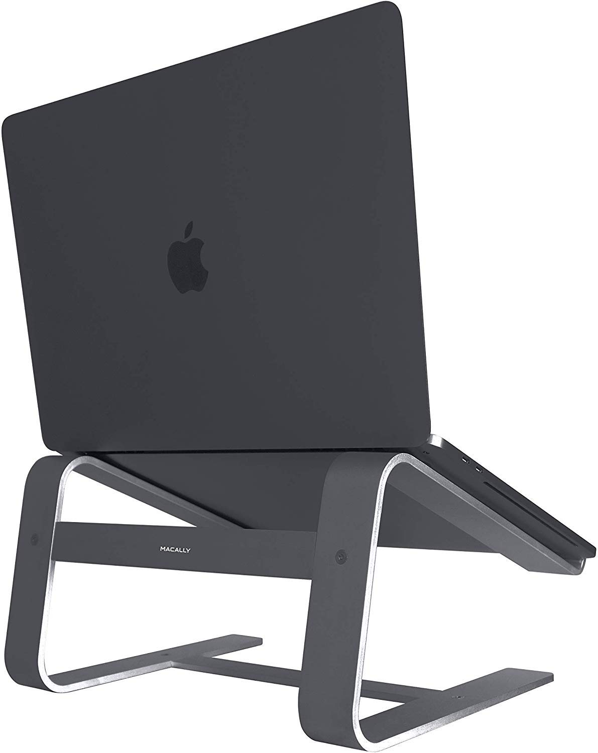 "Macally Aluminum Laptop Stand for Home & Office Desks - Fits All Notebooks from 10"" to 17.3"" - Apple Macbook 12"" 13"" Pro Air, Chromebook, Samsung, Acer, HP, Dell Computers (Space Gray)"
