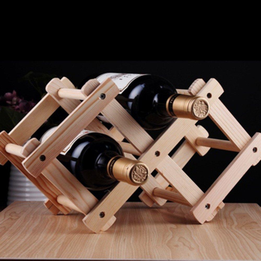 Casavidas Nanjibao Estante De Madera Plegable Para 3 Botellas De