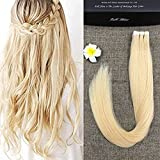 "Full Hair 16"" Light Blonde (#613) 40 Pcs 100g Per Set Pu Tape in 100% Remy Human Hair Extensions Fashion Tape in Hair Extensions"