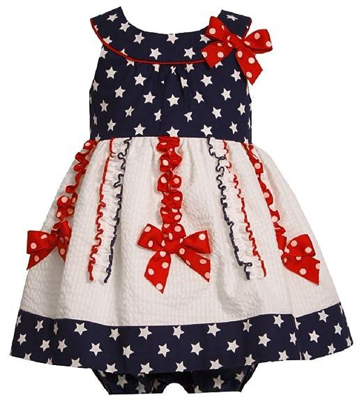 2f5ad89c2b24 Amazon.com  Bonnie Jean Girls Patriotic Star Bodice Seersucker Dress ...