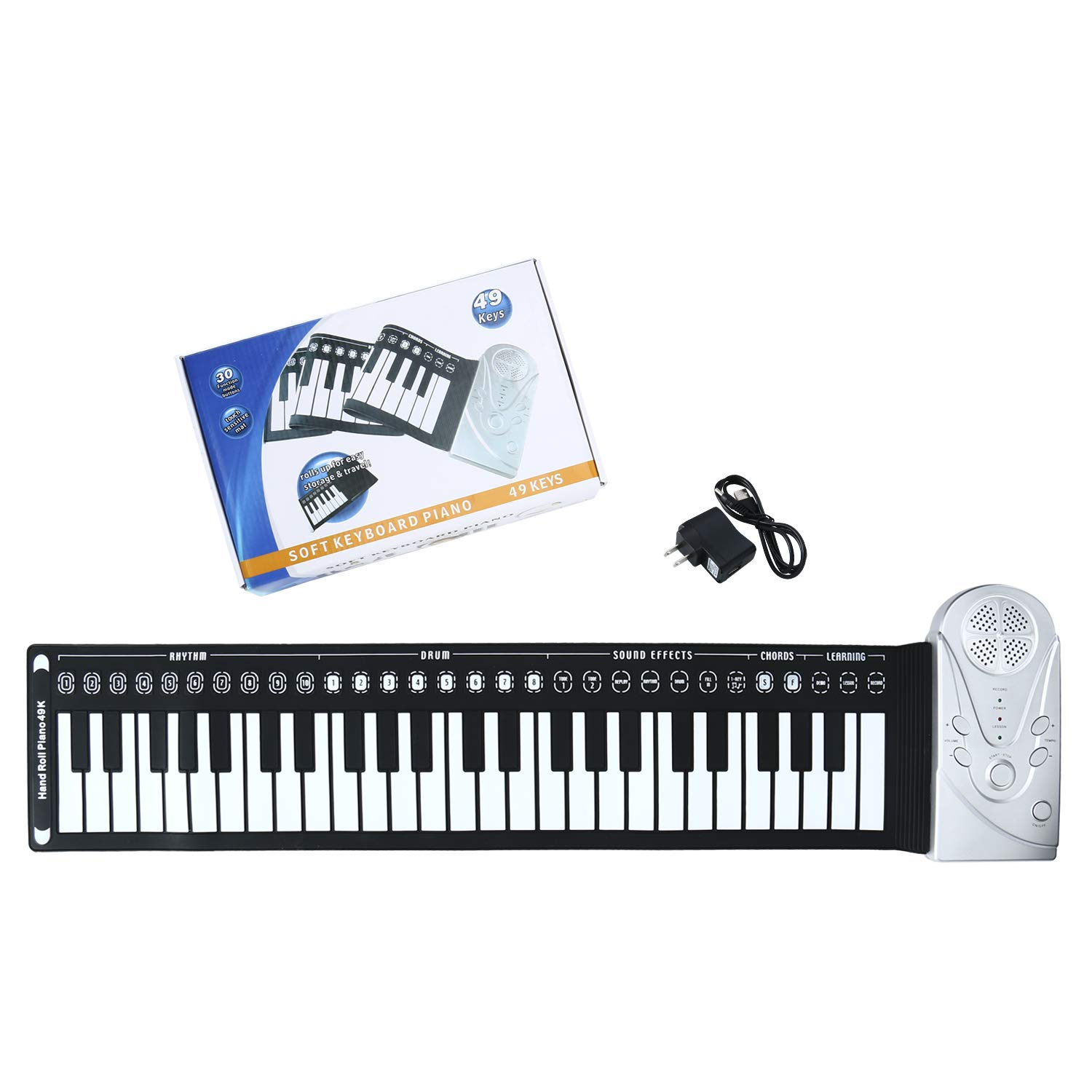 Homend Roll Up Piano, Travel Foldable 49 Keys Flexible Electronic Hand Roll Piano Built-in Speaker with Environmental Silicone Piano Keyboard for Kids Beginners Best Christmas Gift