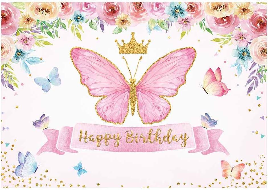 Allenjoy Feliz Cumpleaños Mariposa Fiesta Fondo Bebé Niñas Hada Princesa Rosa Floral Oro Fotografía telón de fondo Niños Dulce Pastel Mesa Banner Decoración Suministros