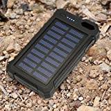 Solar Charger, Solar Power Bank, iBeek Portable 10000mAh Dual USB Solar Battery Charger External Battery Pack Phone Charger with 12 LED Flashlight for Emergency Outdoors Travel Camping (Black)