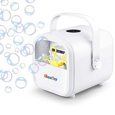 iBaseToy Automatic Bubble Machine for Kids, Portable Professional Bubble Maker for Parties with 2 Speed Levels, Bubble Blower Operated by Plug-in or Batteries: Toys & Games