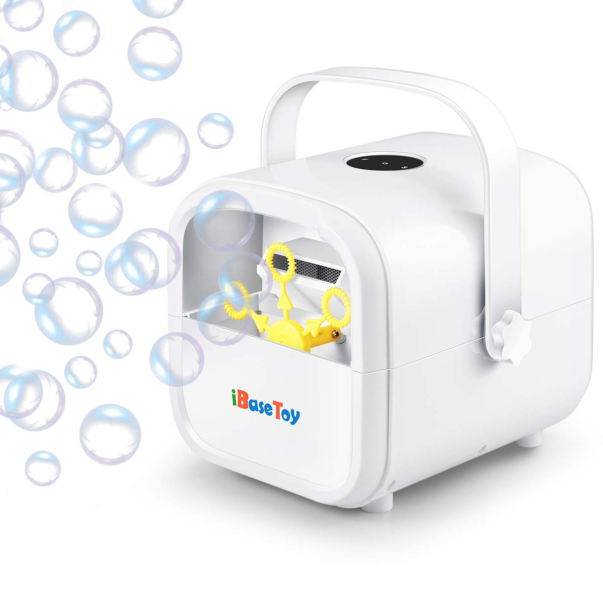 iBaseToy Portable Bubble Machine, Bubbles Maker Machine for Kids with 2 Speed Lever, Automatic Bubble Blower with High Output for Outdoor/Indoor Use, Powered by Plug-in or Batteries