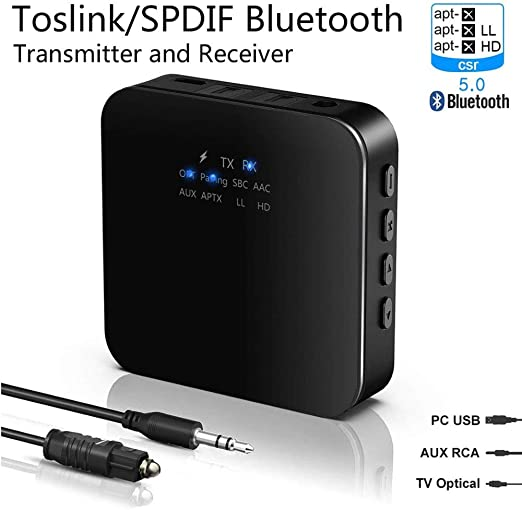 POWERFULM 2-en-1 Bluetooth 5.0 Transmisor Receptor Bluetooth Adaptador con aptX HD de Baja latencia 3.5mm Aux/RCA Adaptadores/óptica Digital para Smart TV: Amazon.es: Hogar