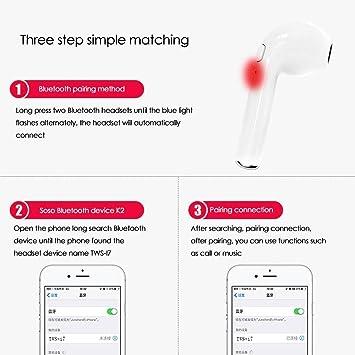 Auriculares Bluetooth, i7 Auriculares Bluetooth Inalámbrico con estuche de carga Auriculares intrauditivos con micrófono, Manos libres para iPhone X 7 7plus ...