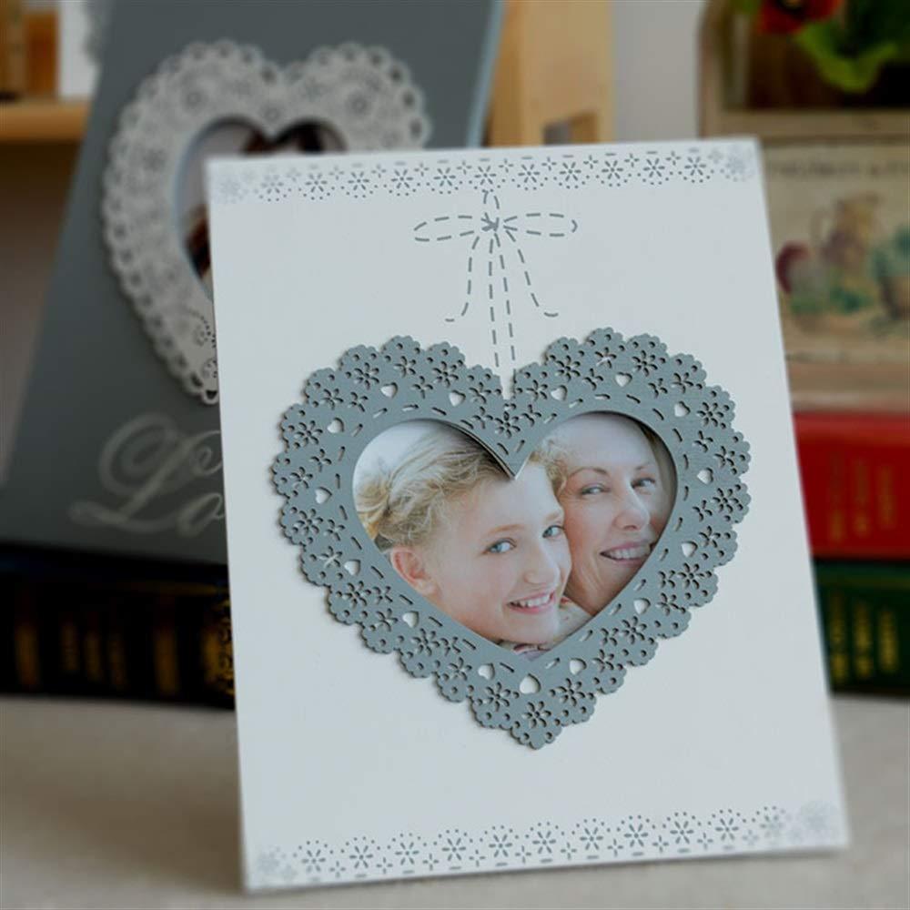 EEvER Marcos prácticos de la Foto del diseño DIY Marco de Madera Marco de Cartel en Forma de corazón de Amor para Deoration casero (Blanco)