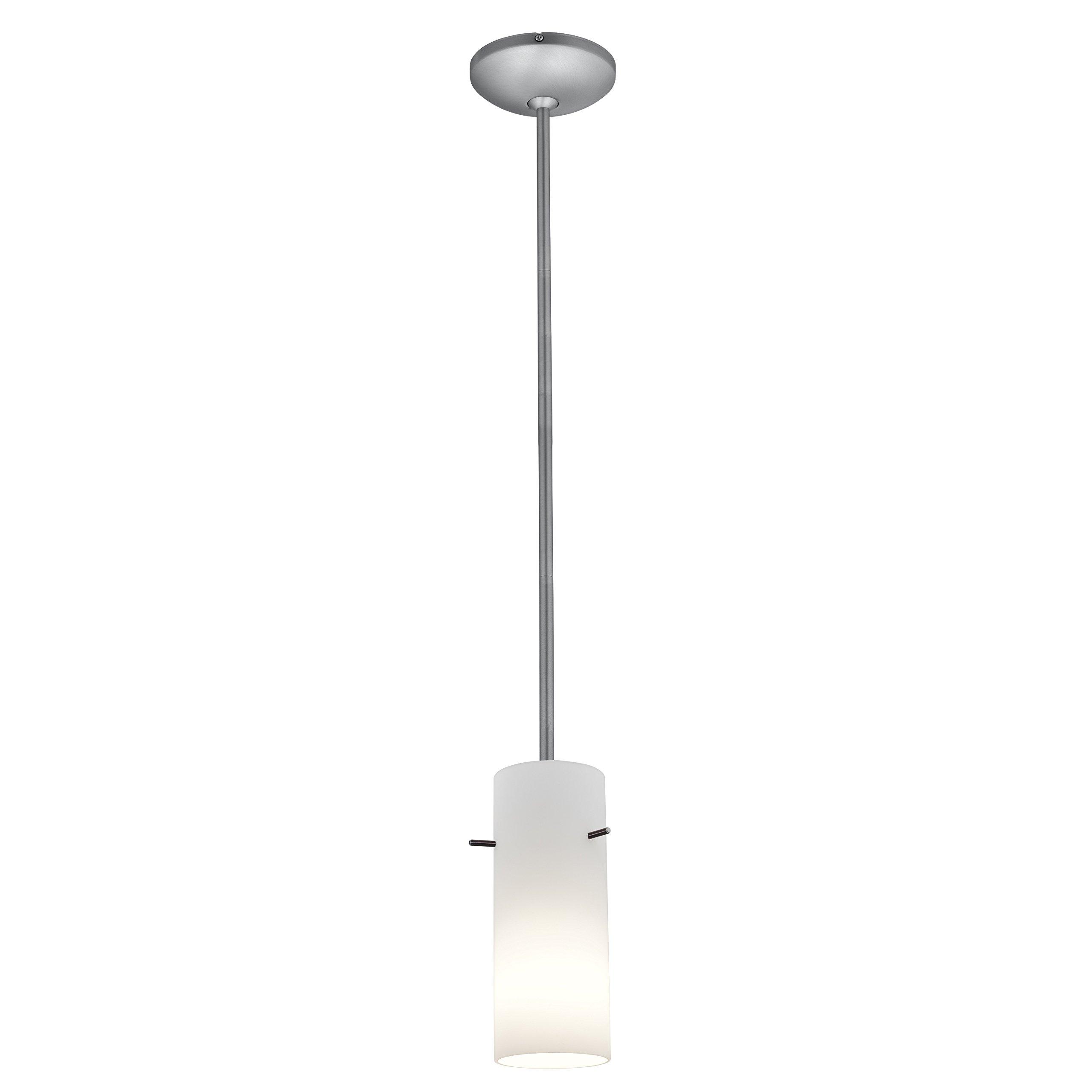 Cylinder - E26 LED Rod Pendant - Brushed Steel Finish - Opal Glass Shade