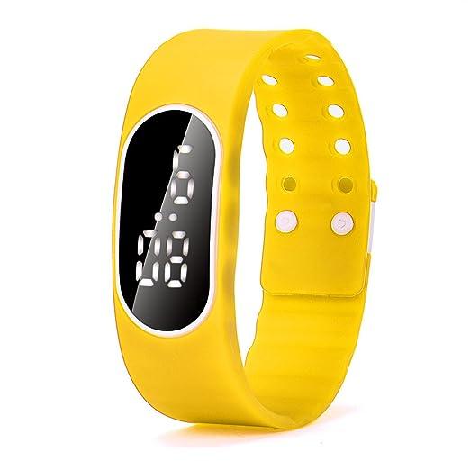 Zarup Para mujer para hombre del reloj LED de goma Unsex Fecha Deportes reloj digital pulsera ☆ Amarillo: Zarup: Amazon.es: Relojes