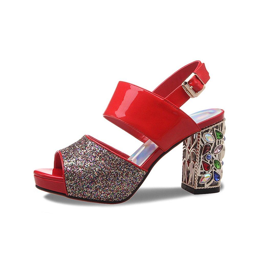 WANGXIAOLIN スパンコールダイヤモンドプラットフォームのハイヒールサンダルで魚の口の靴革厚い ( 色 : 赤 , サイズ さいず : 34 ) B07CGBF2V8 34|赤 赤 34