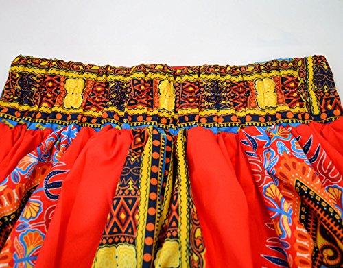 Monique Women African Style Floral Print Long Maxi Skirt High Waist Floor Length Skirts Dresses Longuettes for Ladies Yellow Orange L/XL by Monique (Image #5)