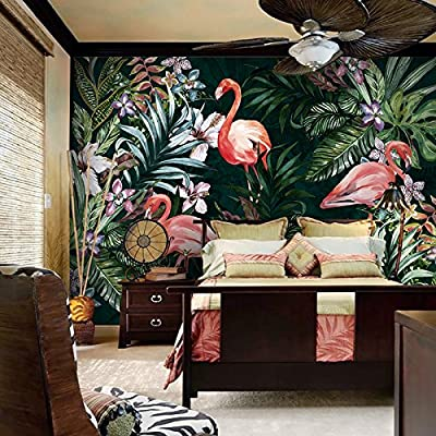 XLi-You 3D CUSTOM Southeast Asian style large mural painting living room sofa Flamingo plant background wallpaper